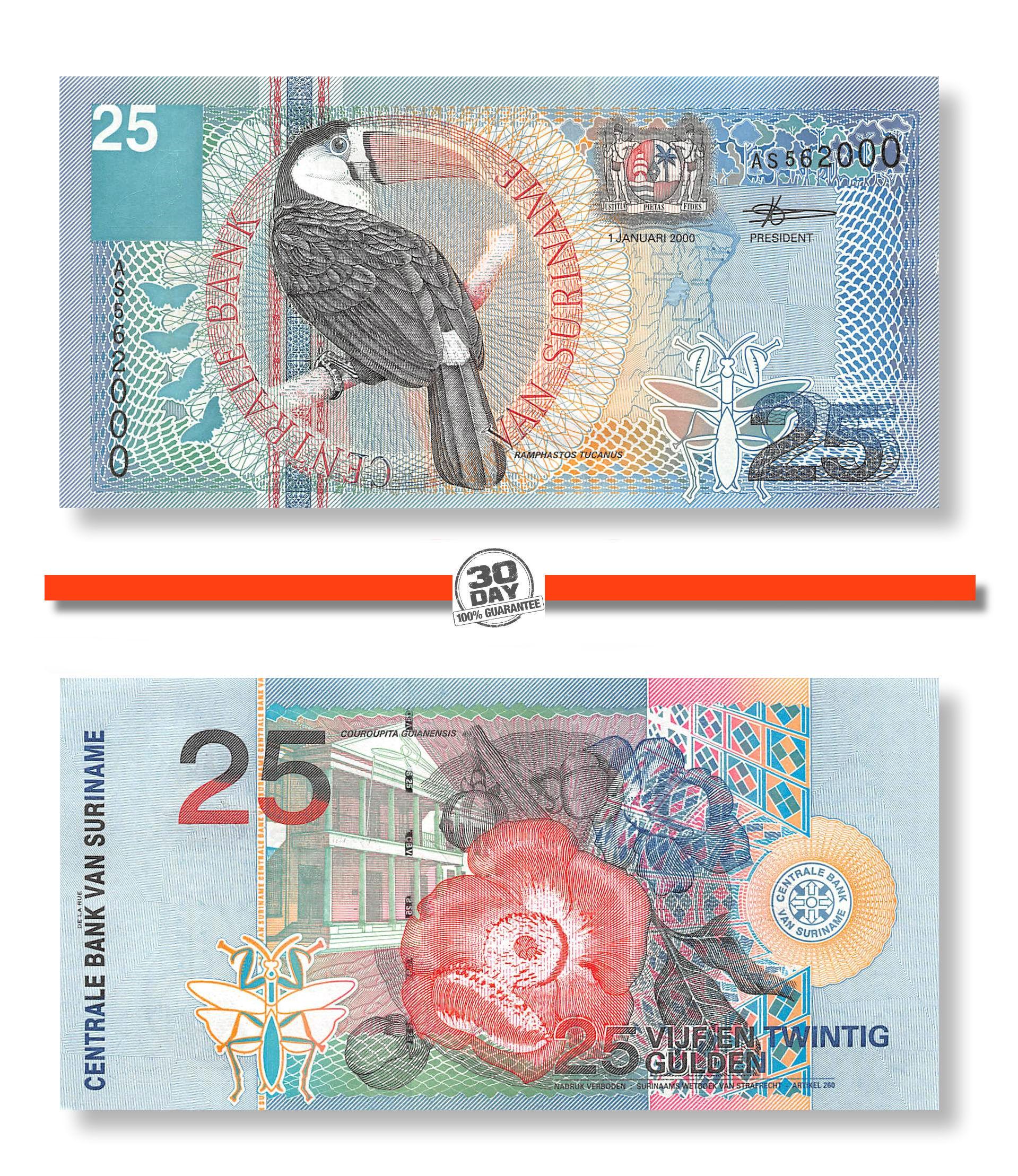 5;10;25 Gulden P-146;147;148 UNC /> Birds Flowers SET Suriname // Surinam 2000