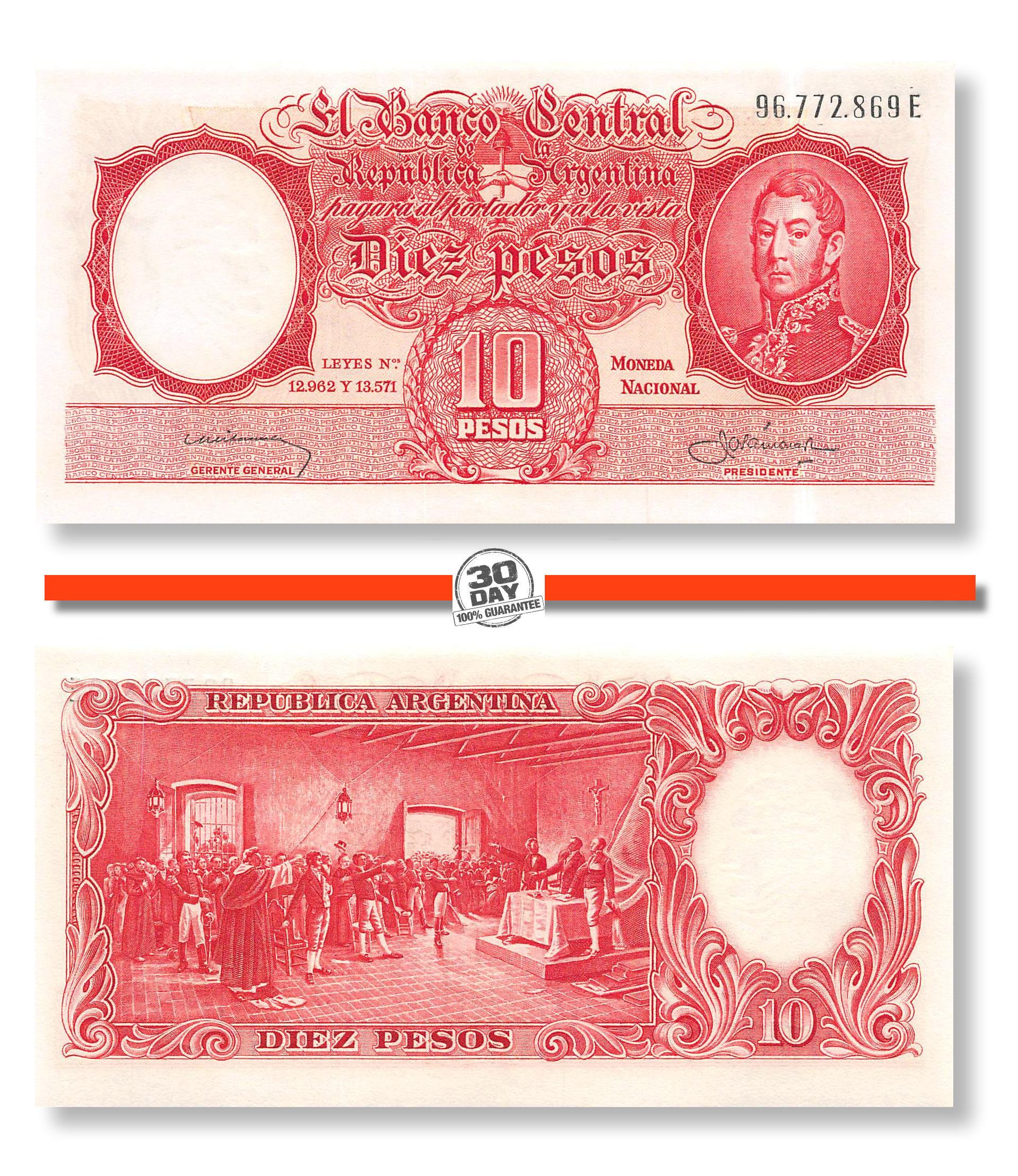 Pick-270a.6 BANKNOTE: 10 PESOS 1959 - Sign: Ditaranto /& Barnet ARGENTINA XF