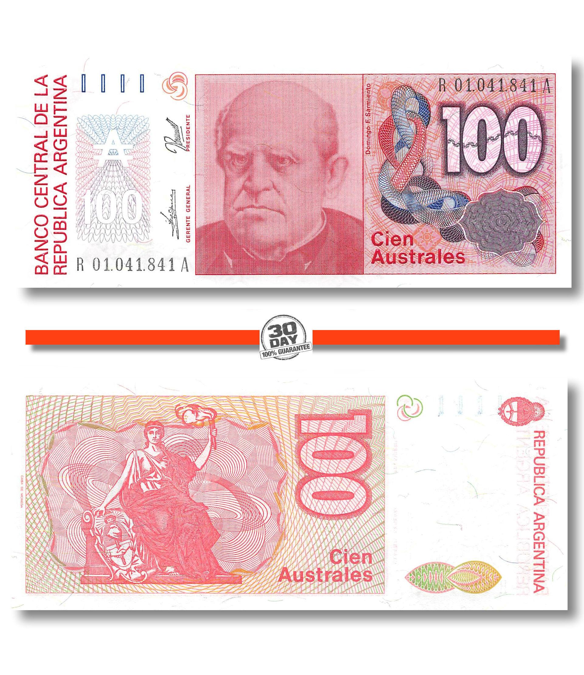 ARGENTINA BANKNOTE 100 AUSTRALES UNC