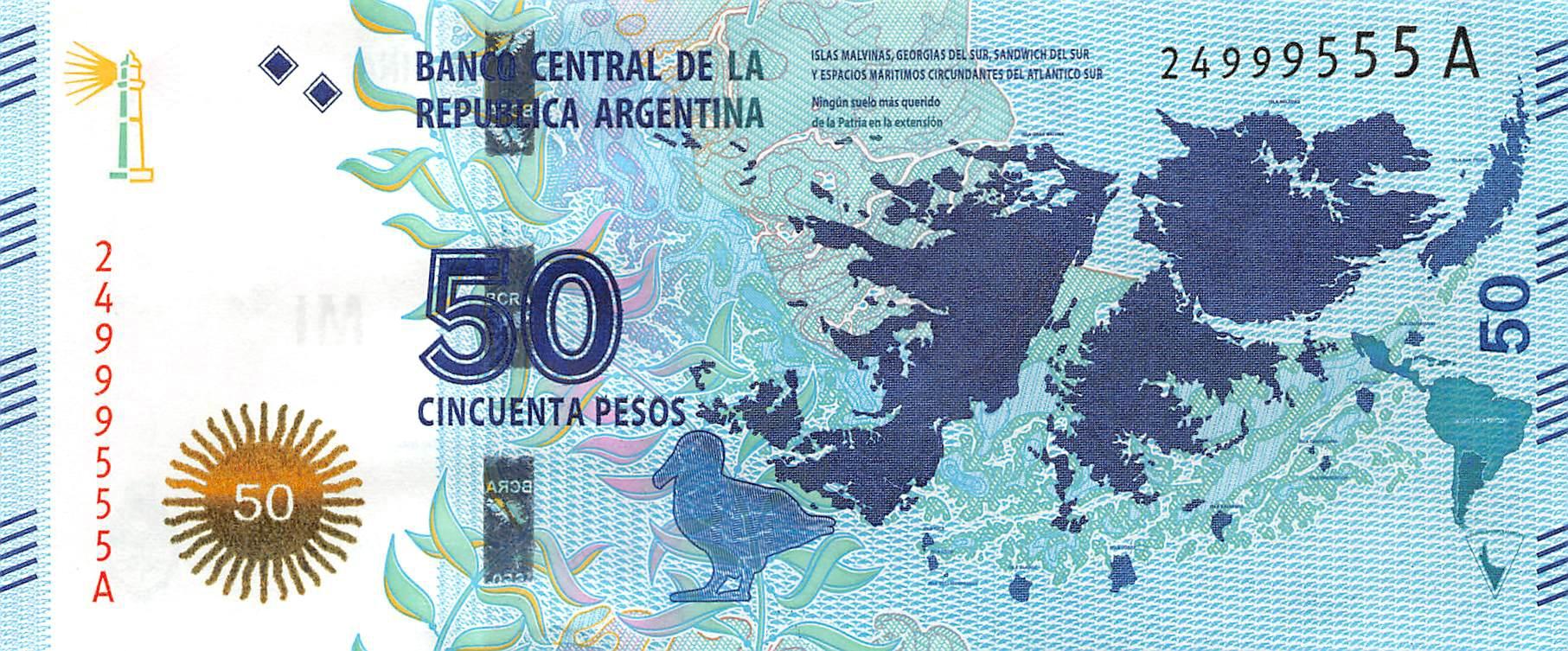 2018 ARGENTINA 50 PESOS P-NEW UNC /> ACONCAGUA MOUNTAIN SUFFIX A