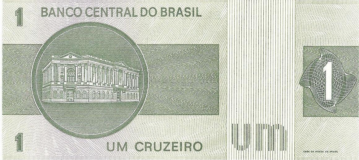 BRAZIL 1 CRUZEIRO P 191A//C SIGN 20 AUNC