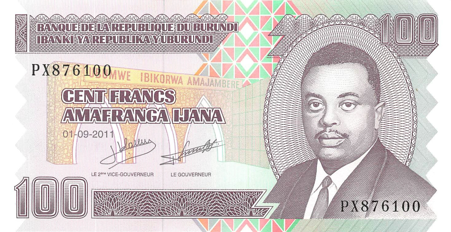 Burundi 100 Francs UNC /> Reduced Size Issue P-44 2011