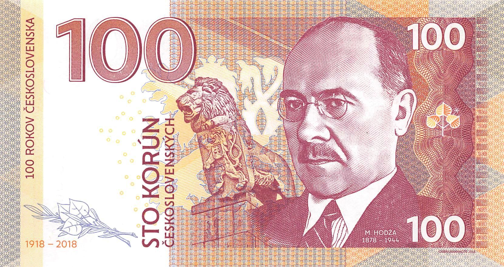 2018 100 Korun Private issue UNC /> Milan Hodža Specimen Czechoslovakia