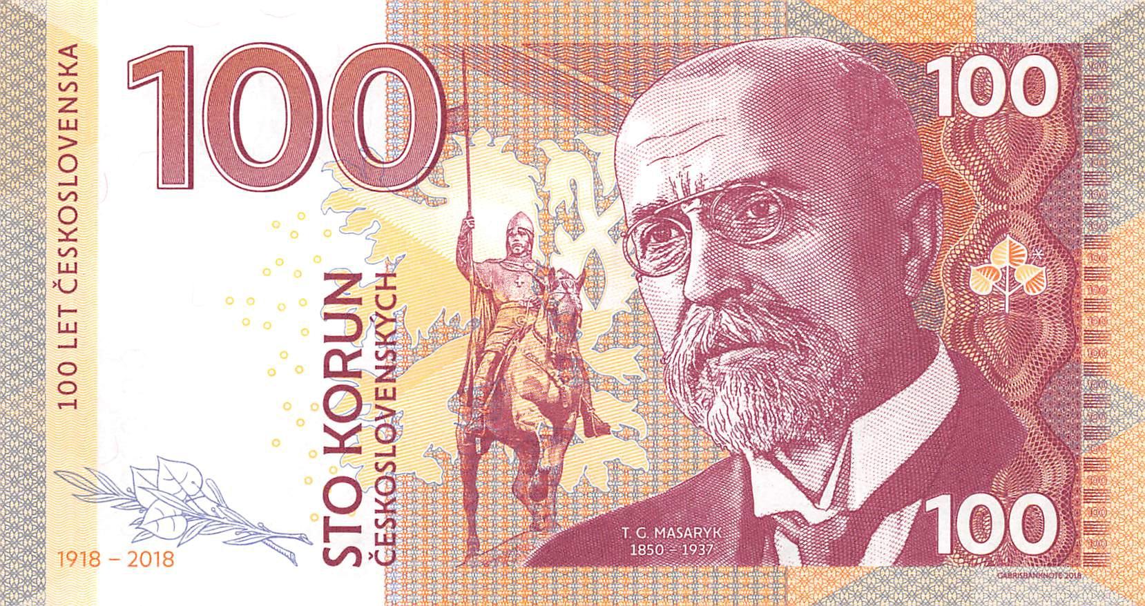 Ceskoslovenska 100 Korun 2018 Unc T G  Masaryk 1850 - 1937
