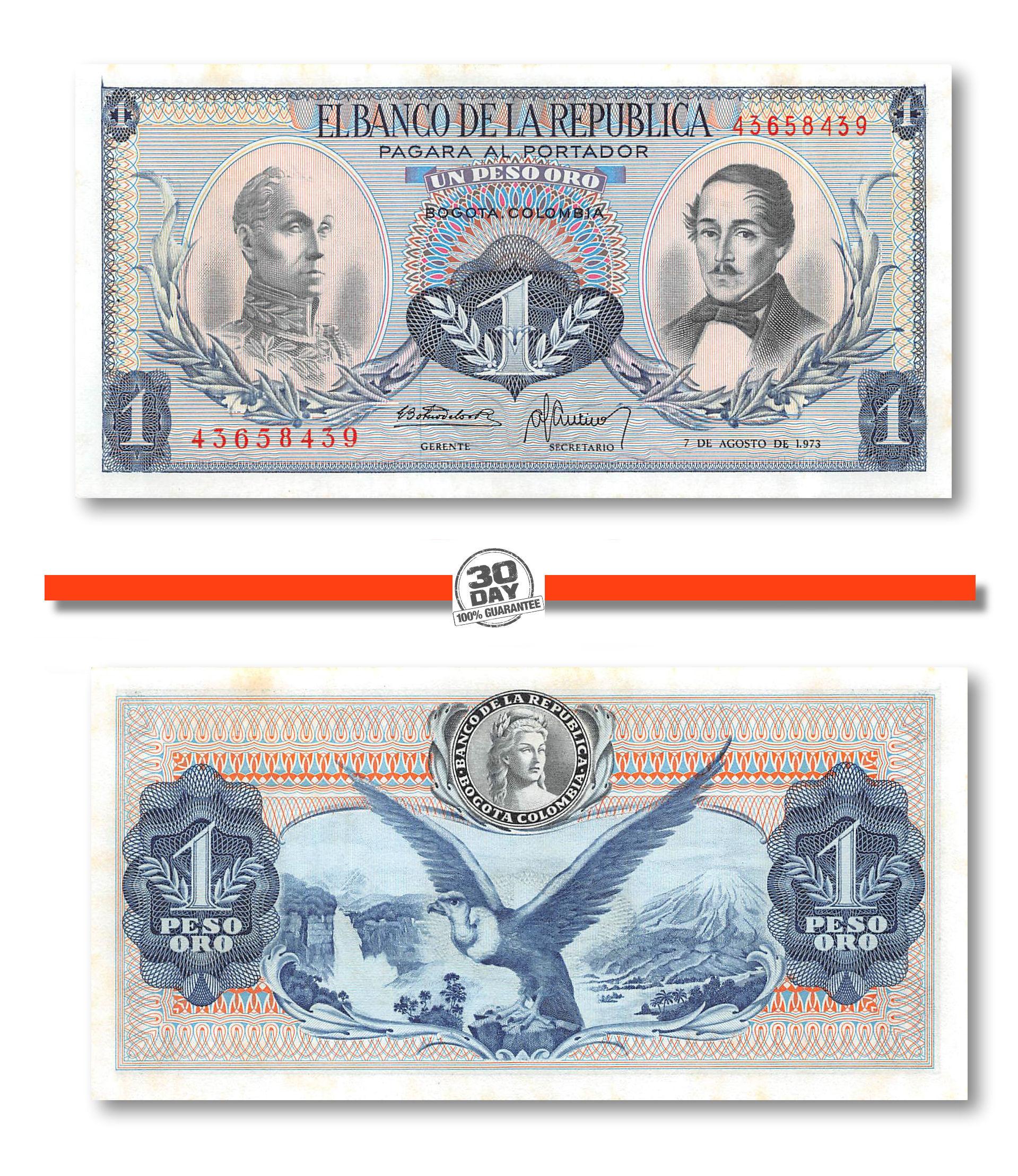 Colombia 1 Peso UNC 1973 P-404e