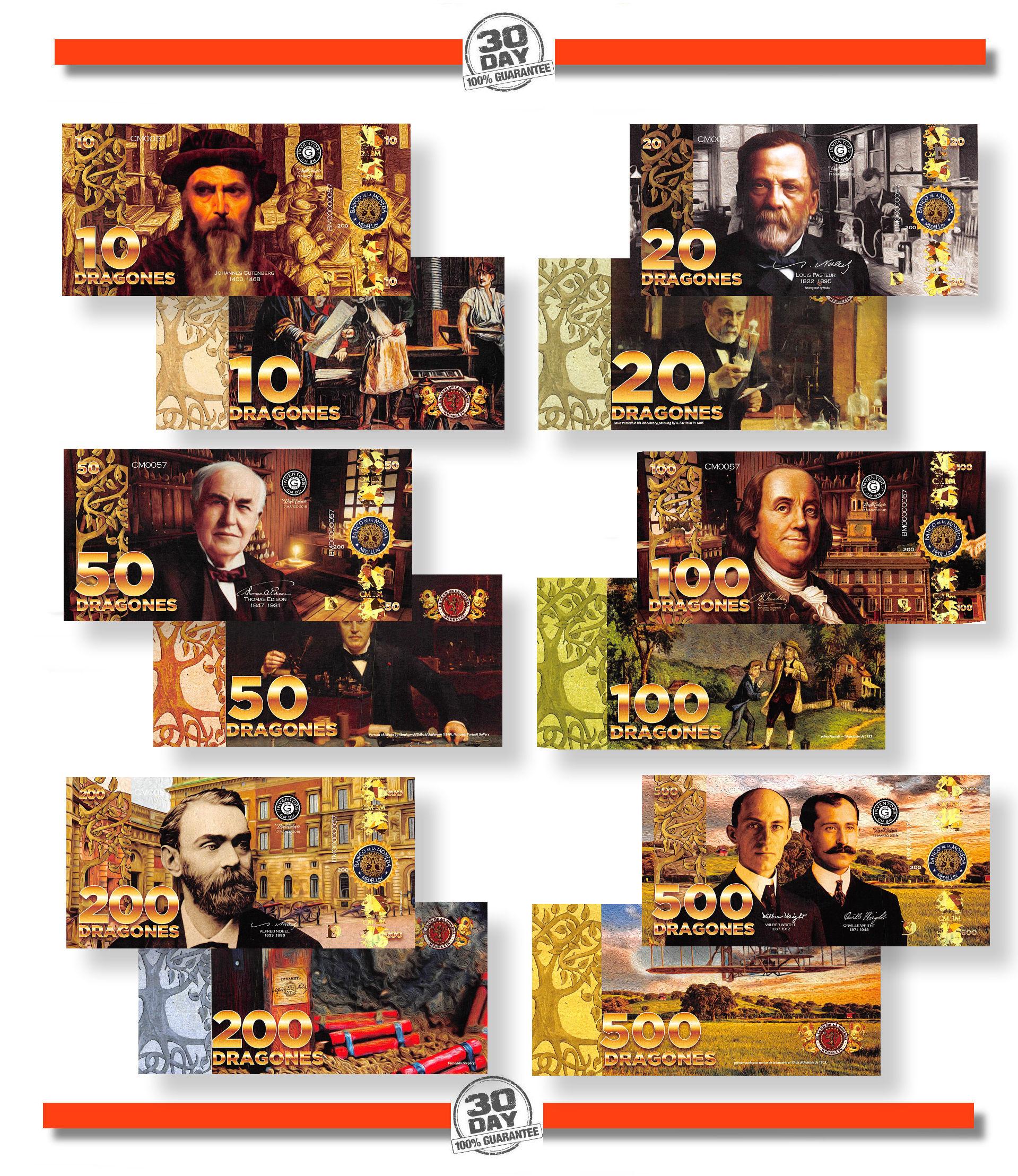 El Club De La Moneda 10;20;50;100;200;500 2017 2018 Great Inventors POLYMER SET