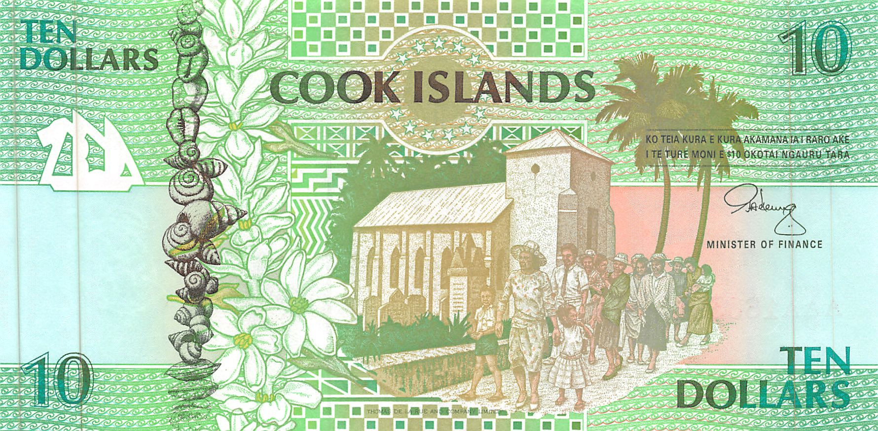 COOK ISLANDS  10 DOLLARS  1992   Prefix AAA    P 8   Uncirculated Banknotes