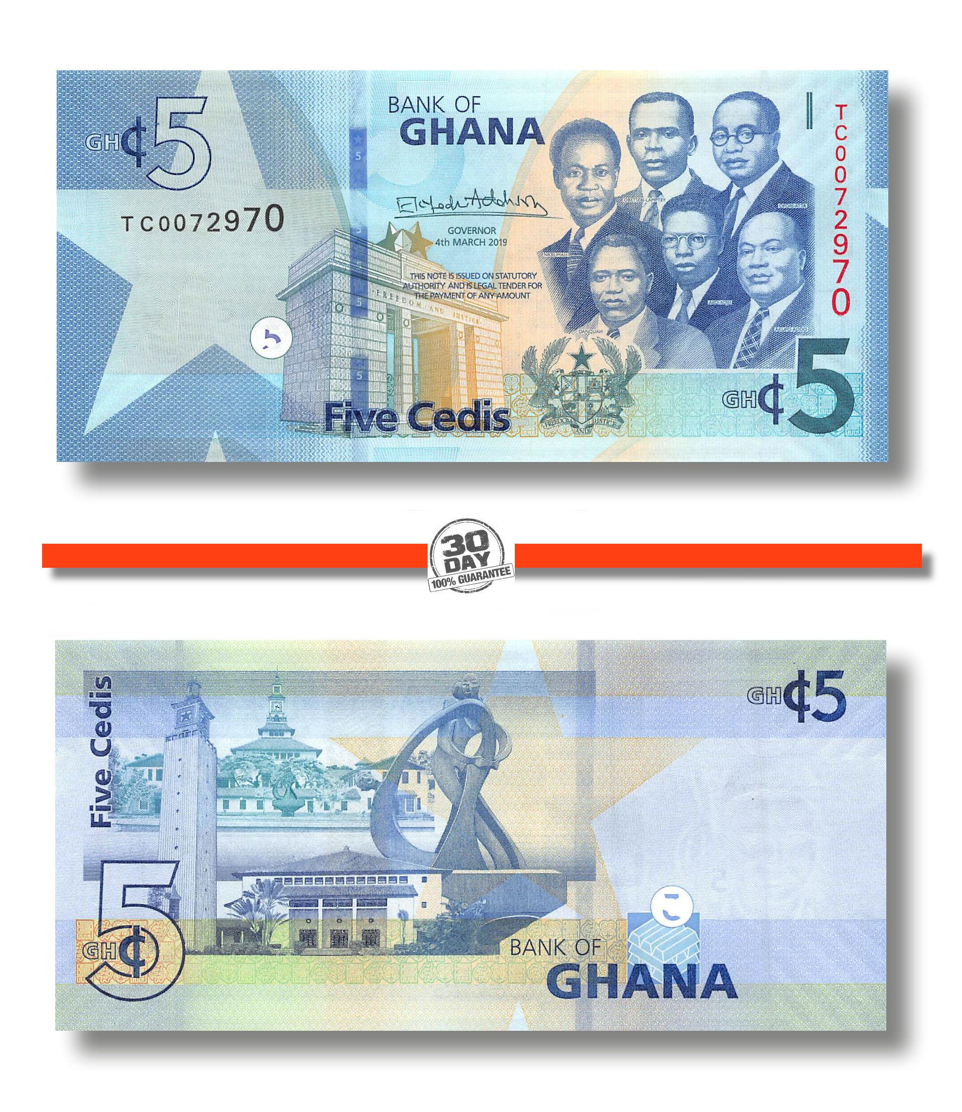 Undated KM:6a 1965 UNC 5 Cedis 65-70 Ghana