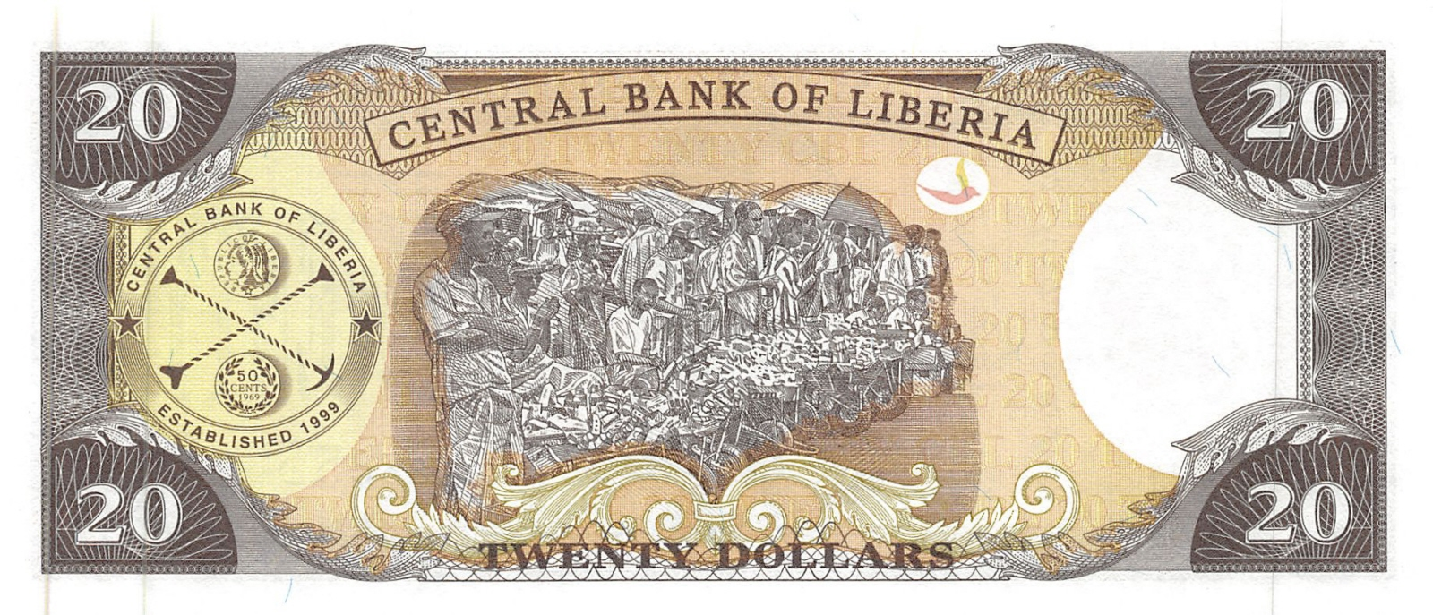 2003 20 dollars P-28a Liberia // Africa UNC