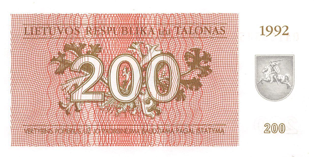 LITHUANIA 200 TALONU 1992 P 43 UNC
