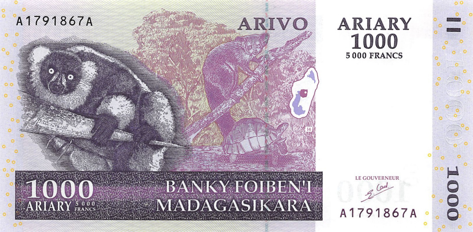 Madagascar Paper Money 1000 Ariary 5000 Francs 2004 UNC