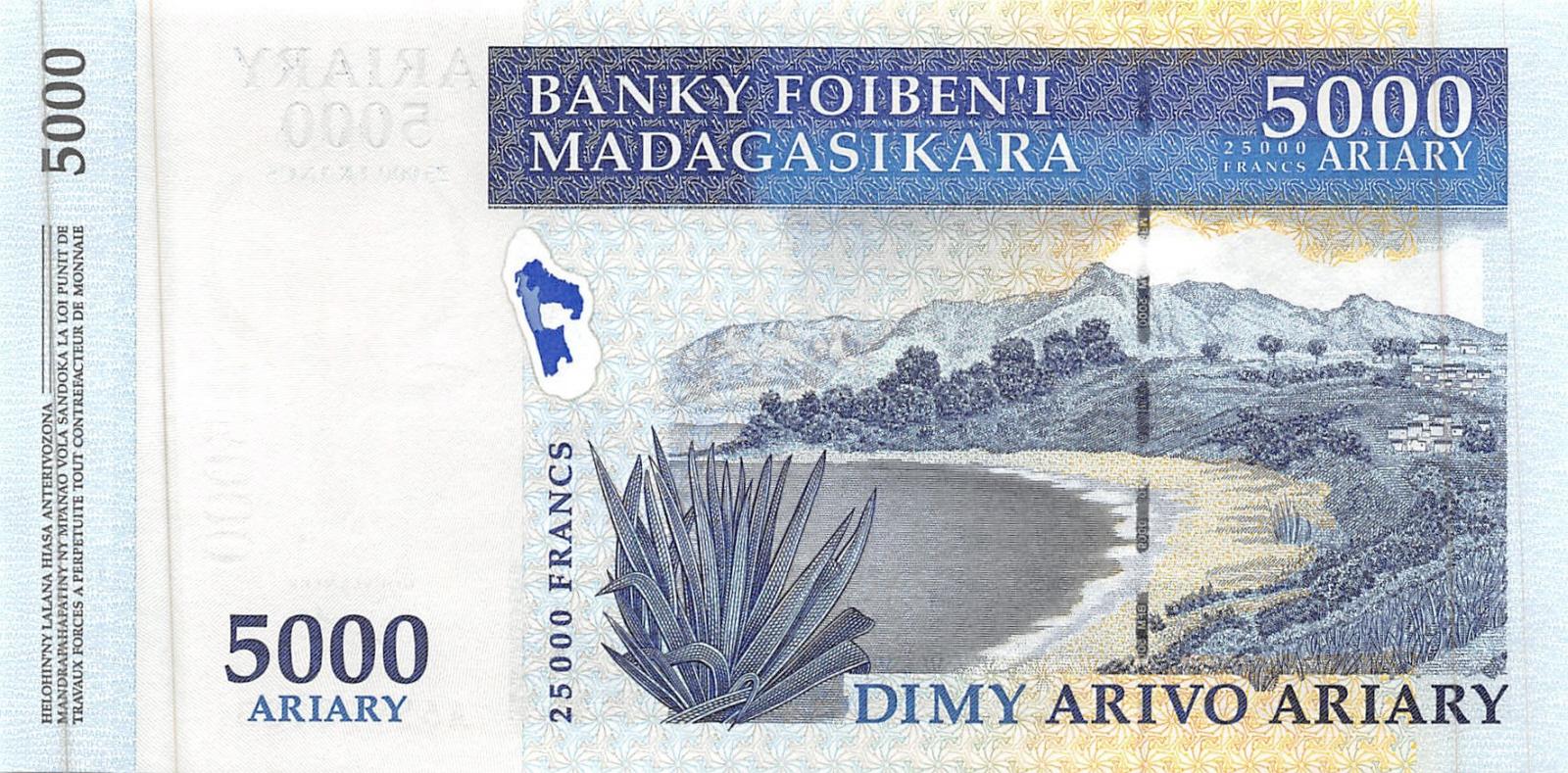 Madagascar 5000 Ariary p-94 2008 Commemorative UNC Banknote