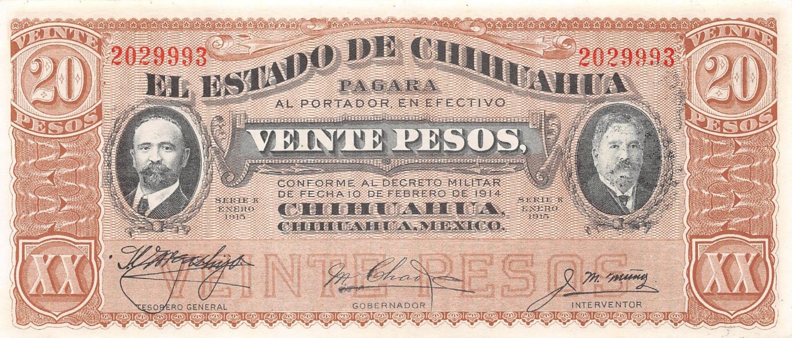 El Estado De Chihuahua UNC 5 Peso Mexican 1915