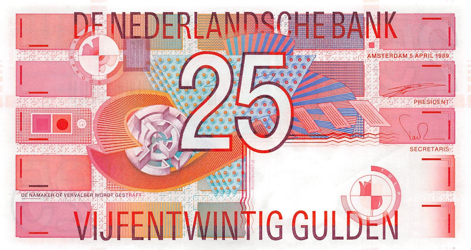 Netherlands 1989 25 Gulden Robin Bird Bank Note UNC P100 102799