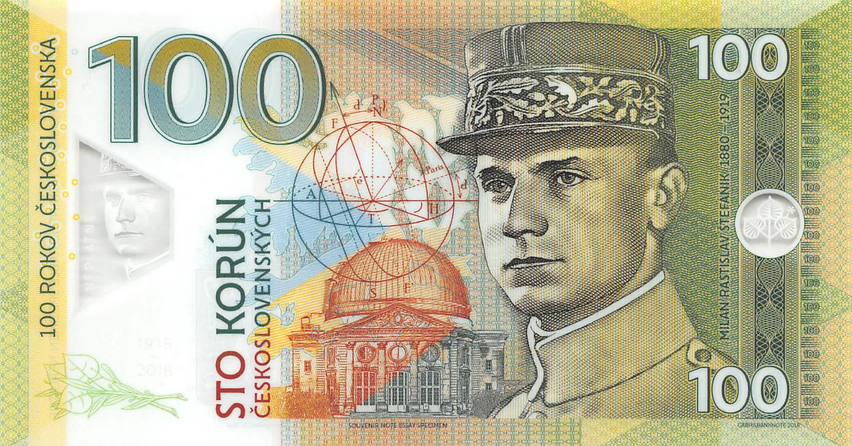 Czechoslovakia UNC /> Štefánik Private issue Polymer 100 Korun Specimen 2018