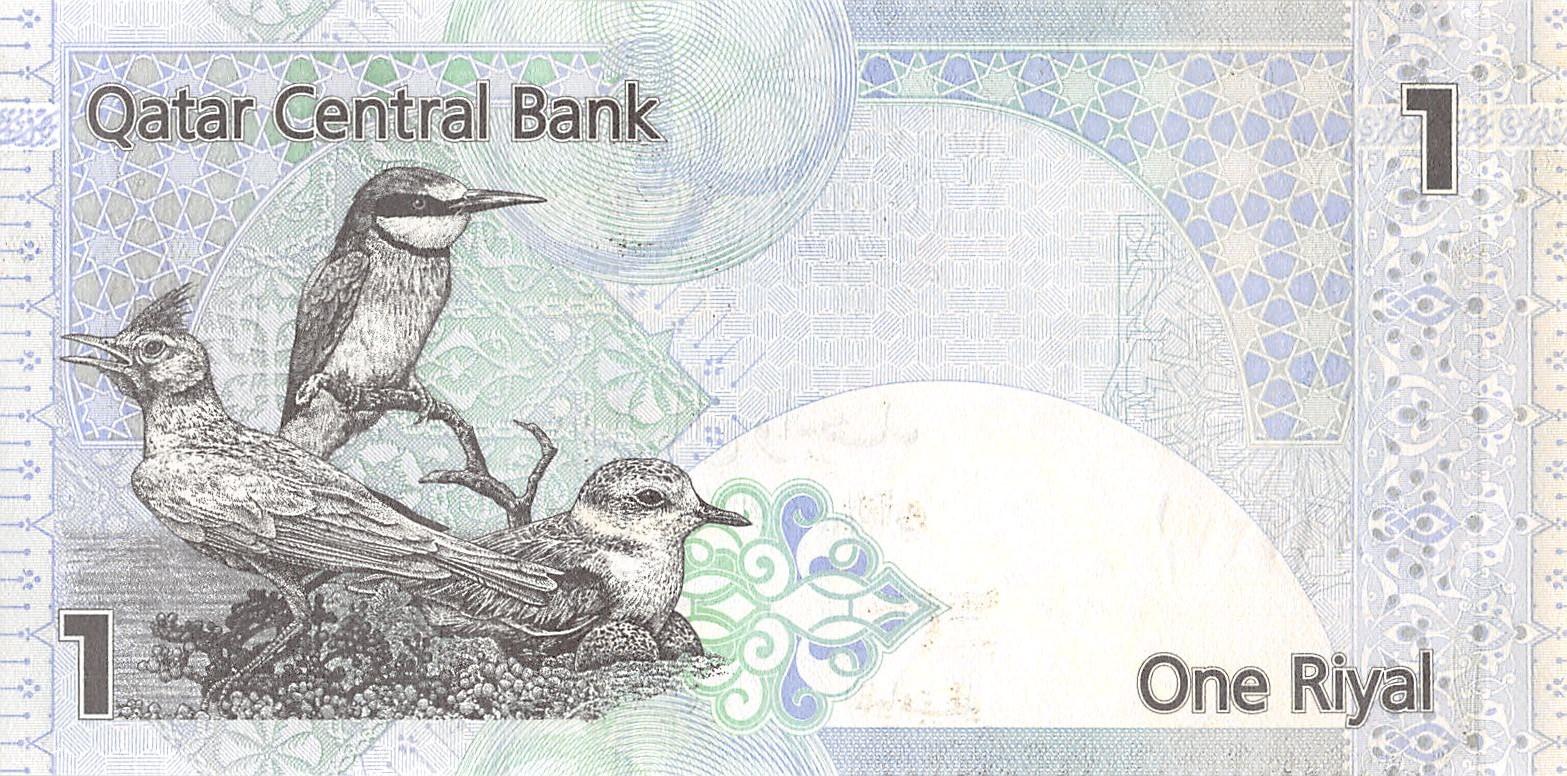 QATAR Paper Money 1 RIYAL Birds 2003 UNC