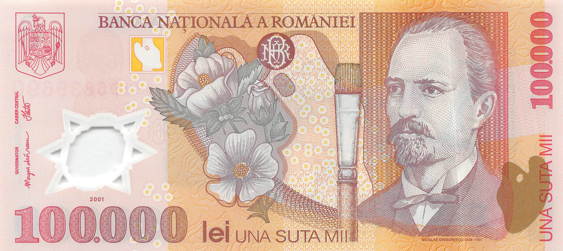 UNC Romania 100,000 Lei Banknote Polymer Europe Paper Money P-114a 2001