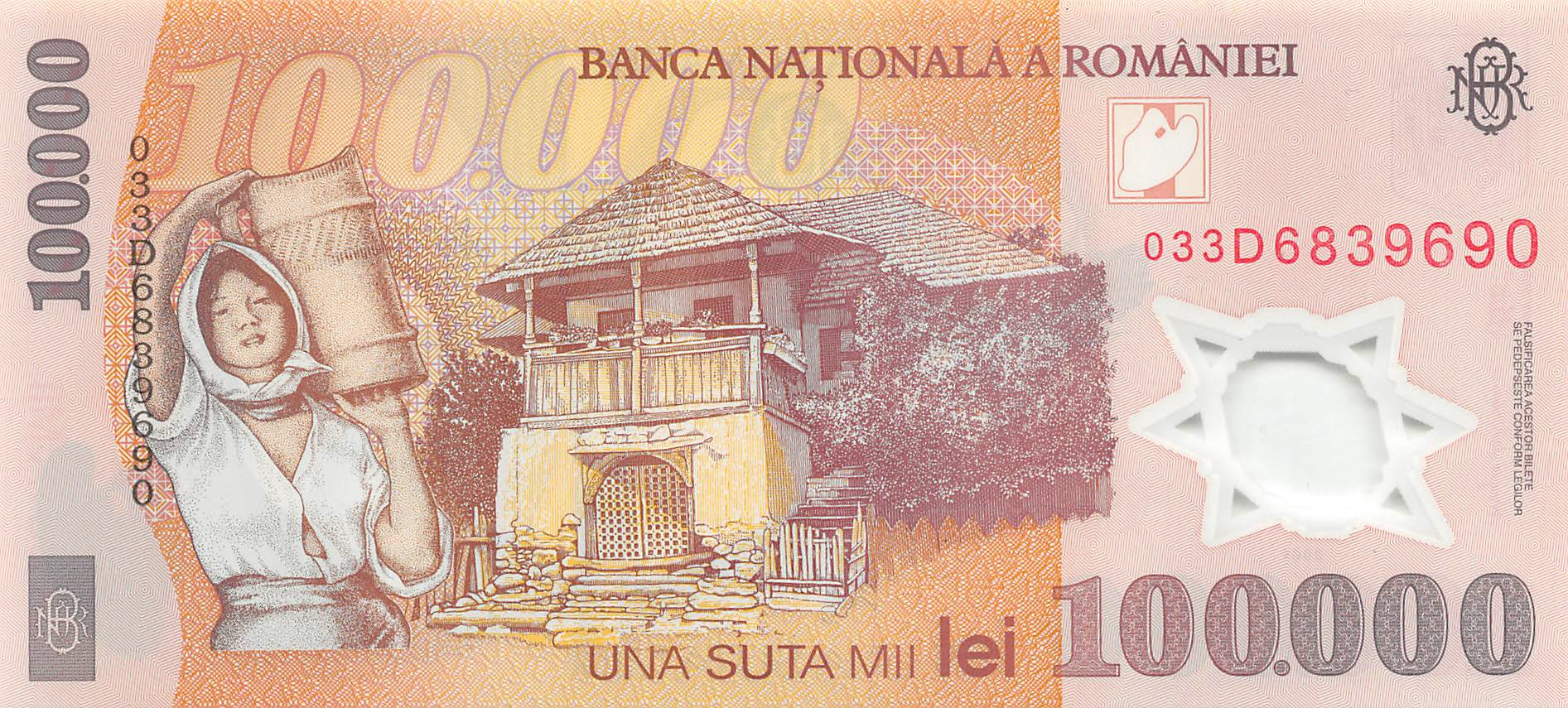 Romania 100,000 Lei Banknote 2001 UNC P-114a Polymer Europe Paper Money
