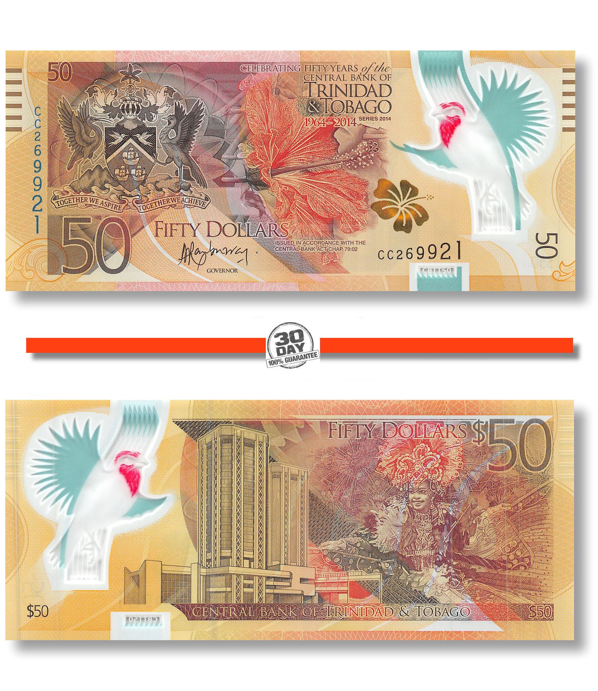 Trinidad and Tobago 50 Dollars P 54 2014 UNC Polymer Commemorative Combine FREE