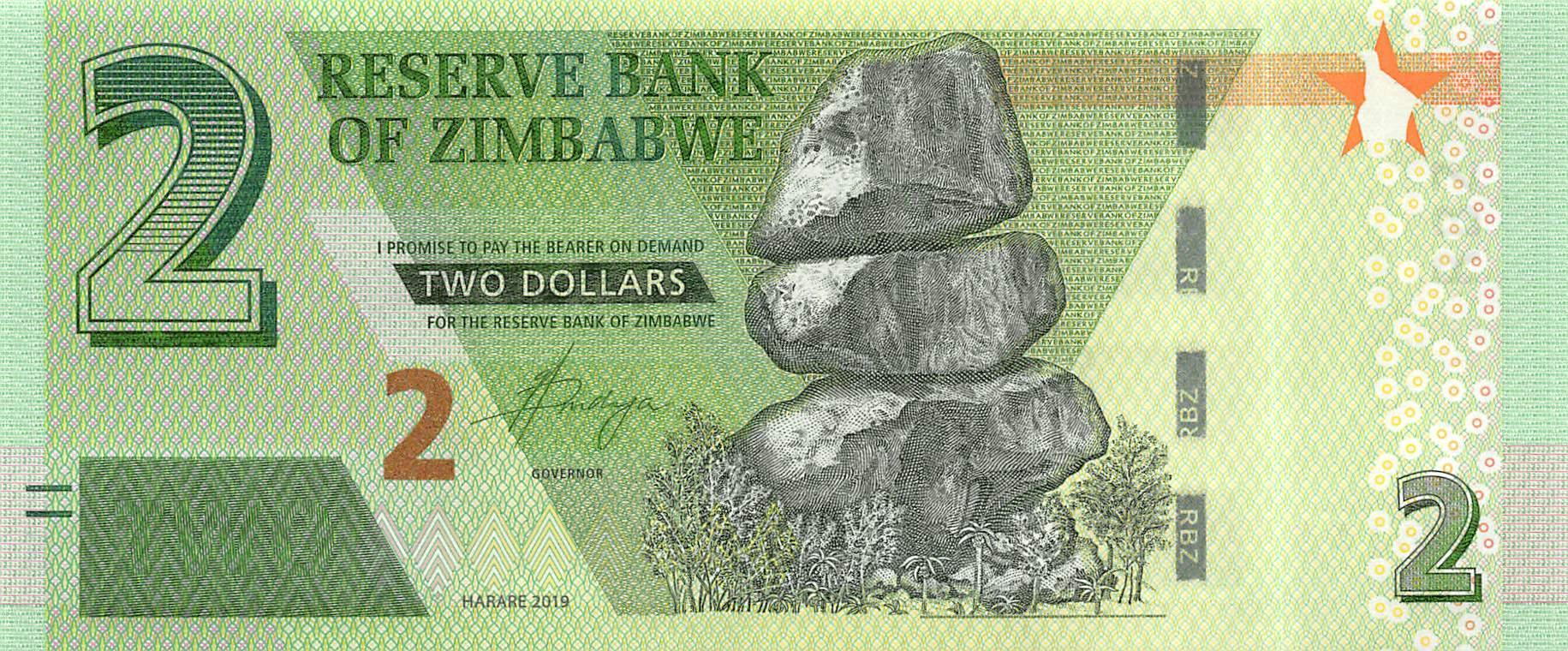 Zimbabwe 2 Dollars 2019 Unc