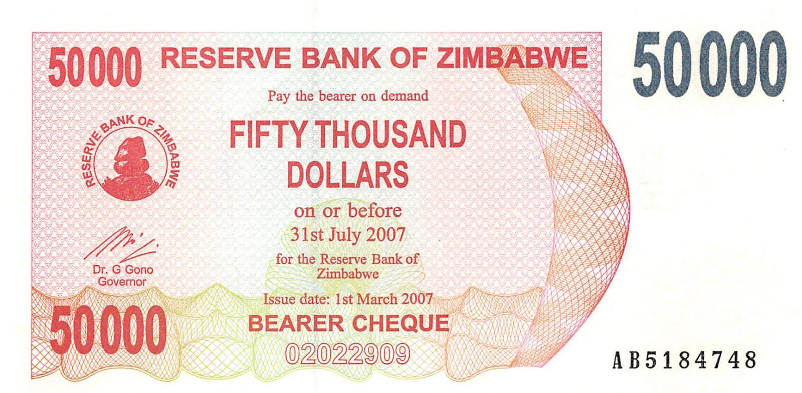 Zimbabwe 50000 dollars 2007 bearer cheque unc pn 47 zimbabwe for 50000 dollar house