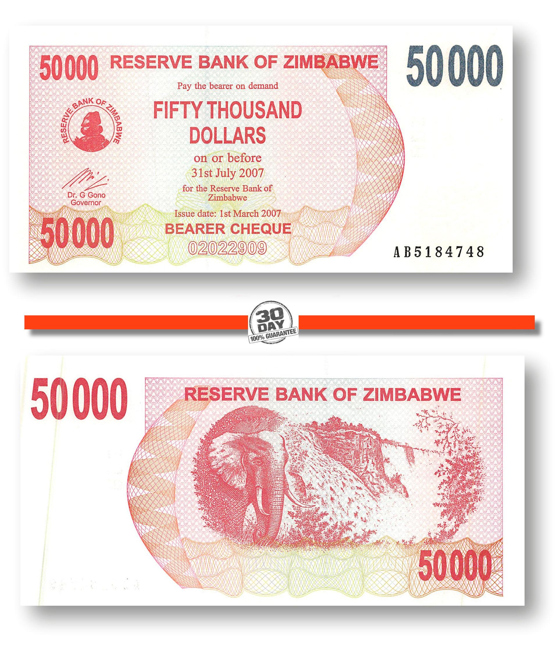 50000 Dollars 2007 Bearer Cheque